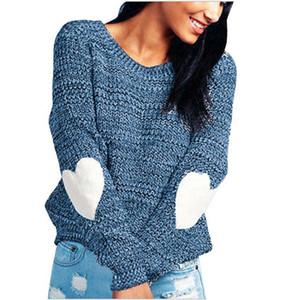 Dropshipping Mode Herbst Womens Designer Pullover Pullover mit Rundhalsausschnitt Love Heart-Flecken Pullover OL Art Damen Kleidung