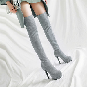 YMECHIC Fashion Long Ridding Platform Stocking Boots Glitter Stretch Bling Tight High Heel Over The Knee High Boots Shoes Winter