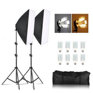 Fotoğraf Stüdyosu 8 X 20W Mısır LED Ampüller 2X Işık Fotoğrafçılık softbox Aydınlatma Kiti Pulse Light Kamera Fotoğraf Aksesuarları Standı