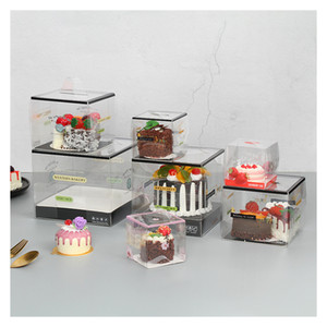 5pcs Transparent Cake Box With Handle Cupcake Plastic Disposable PET Cake Decoration Packaging Gift Box Baking Accessories