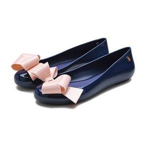 Chaussures Femmes douces femmes Sandales plates 2020 New Bow Melissa Chaussures Femme Sandales Femme douce gelée Jelly Chaussures 0922