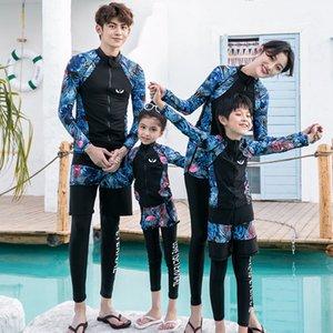 Nueva pareja de la familia entre padres e hijos pantalones de manga larga dividieron diving protector solar de natación traje traje medusas traje de baño de los niños