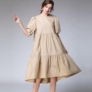 LANMREM 2020 neue Art und Weise Large Size XL-4XL Kleid Frauen Aufmaß Kurzarm Rundkragen Einfache Allgleiches AP646 Patchwork Kleid