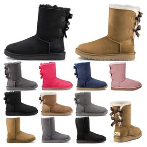 2021 New women girl classic snow boots ankle short bow fur boot for winter black chestnut girl women booties size 36-41 fashion outdoor