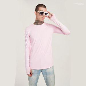 O Neck Long Sleeve Holes Long Mens Tshirts Fashion Stretch Male Tees Solid Color Skinny Mens Tshirts