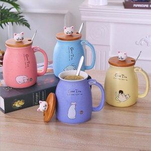 BAISPO Cat Кружка с крышкой Керамические чашки Портативный Milk Кружка кофе Дети офиса Подарки Креативный чашка с ложкой и крышкой