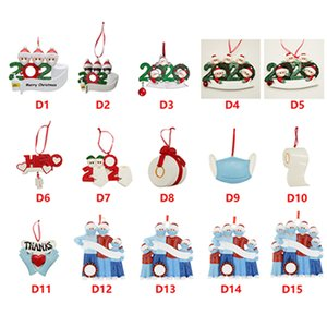 Resin Quarantine Christmas Ornaments 2020 DIY Name Blessings Snowman Family Christmas Tree Ornaments Decoration Sea Shipping IIA667