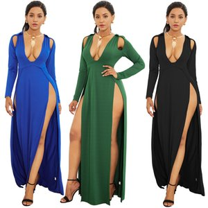 Womens Deep V Neck Long Sleeve High Slit Bodycon Evening Party Gown Maxi Dress 2020 Winter Sexy High Slit Long Sleeve Maxi Dress