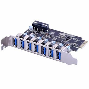 Adaptör Masaüstü Bilgisayar Bileşenleri Brand New USB3.0 PCI-E usb 3.0 Genişletme Kartı 7 port USB 3.0 PCI ekspres Genişletme Kartı pcie
