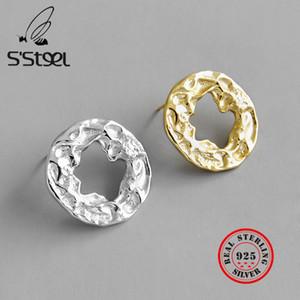 مجوهرات S'STEEL الهندسة غير النظامية وأقراط فضية الخواتم فضية 925 مجوهرات Pendientes موهير مودا 2020 Kolczyki الجميلة
