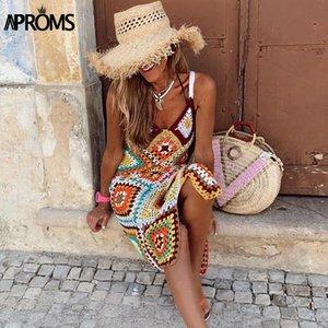 Aproms Boho Multi Color Crochet Tricoté Maxi robe d'été sans manches femme évider Beachwear Robes Sundresses 2020 Vestidos