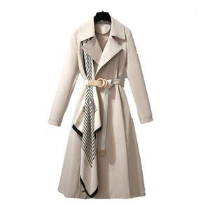 New Arrival Elegant Women Windbreaker 2020 Autumn Female Scarf Trench Coat Fashion Office Ladies Overcoat Belt Long Coats N368