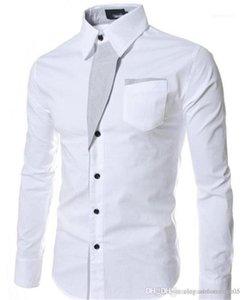 Dress Shirts Slim Long Sleeve Lapel Neck Mens Shirts Fashion Solid Color Female Clothing Designer Mens