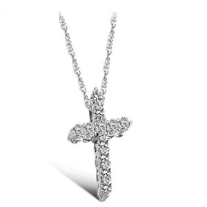 Luxury Original 925 Sterling Silver Cross Pendant Necklace Princess Luxury Diamond Necklace Pendant for Ladies and Women N10 .
