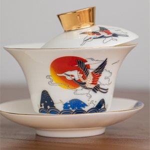 White Porcelain Sancai coperto Bowl High-end Teacup resistente al calore singolo in ceramica della famiglia White Porcelain Tea Zuppiera