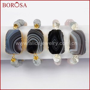 BOROSA 5PCS Gold Silver Color Botswana Agates Slice With 10mm Multi Stone Beads Bracelet Druzy Bangle Women Jewelry G1634 S1634
