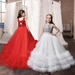 Mi princesa V-back largos de baile para la materia de niños vestidos de encaje de las damas de honor para chicas primera comunión Niña Graduación Vestidos Frocks