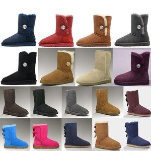 ugg women men kids uggs slippers furry boots slides Australie fille bottes de neige classiques Bowtie cheville arc court botte de fourrure pour l'hiver mode noir marron XhHi #