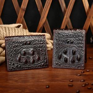Mens Wallet Leather Genuine Vintage Short Men Wallets Crocodile Pattern thin Purse for Male Small Money Case