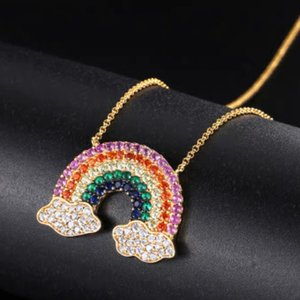 S925 Pure Silver Lucky rainbow Necklace Pure silver gold plating Popular women's Necklacev Free shipping High end luxury Trend personality