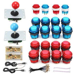 20PCS DIY Joystick Arcade Kits 2 Players With 20 LED Arcade Buttons 2 Joysticks USB Encoder Kit + Cables Game Parts Set