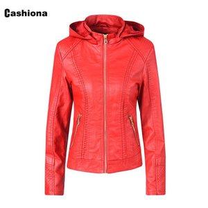 2020 Pu Deri Ceket Kadınlar Kapşonlu Ceketler Cep Fermuar Kış Sıcak Coat İnce Ceket Kırmızı Siyah Kapüşonlular Artı Kadife Cashiona