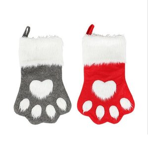 Christmas Stocking Hanging Socks Tree Ornament Decor Hosiery plush Xmas Socks Dog Cat Paw christmas ornaments kdis Gift Candy Bag