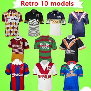 S-5XL Retro Rugby League JERSEY panteras Broncos Cavaleiro Guerreiro Melbourne Oeste Coelhos tigre Cowboys George shirt do vintage clássico