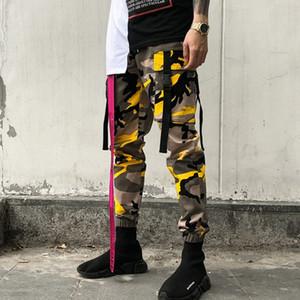Летний Новый Камуфляж Повседневный Camo Брюки Пряжка Мужчины хип-хоп Streetwear Упругие моды Sweatpants Man Tide Инструментальное Брюки Мужской JBRl #