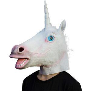 Licorne Masque Masque facial Halloween cheval licorne Novelty Creepy tête Latex Brown Costume Théâtre Prop Parti Creepy Masque Y200103