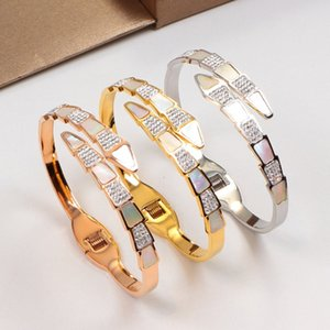 New high quality perfect engraving famous brand bracelet 18K gold rose silver serpentine spring open bracelet for couple gift