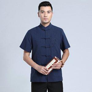 Lacivert Tai Chi Üniforma Geleneksel Çin Ejderha Giyim Tang Takım Elbise Üst Yaz Pamuk Keten Gömlek Erkekler M-XXXL
