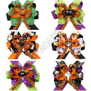 Mädchen Hairbows Haarnadel Halloween Kürbis Spinne Muster Haar-Riegel-Halter-Bogen-Haar-Klipp-Baby Barrettes Studentenparty Haar 6color D82003