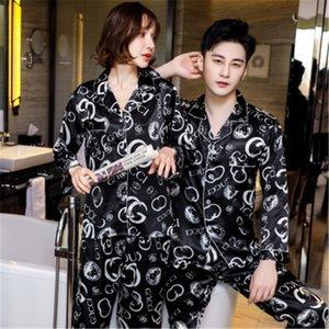 남성 여성 잠옷 세트 소프트 모조 실크 인쇄 셔츠 바지 커플 꽃 인쇄 잠옷 파자마 남녀 잠옷 꽃 인쇄 SLE # 657을 설정합니다