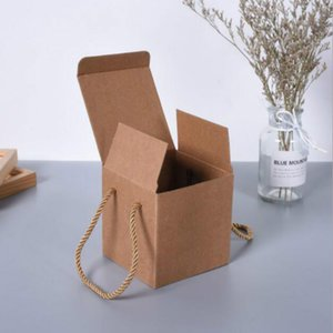 10pcs lot Mini Paper Box With PVC Clear Window Kraft Boxes With Handle DIY Cookies Package 20081001