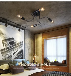 Ferro forjado 4 cabeças de 6 cabeças de 8 cabeças DIY múltipla teto haste lâmpada de cúpula personalidade criativa design retro saudade café teto barra de luz