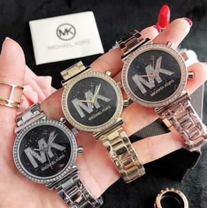 MK de la venta caliente mujeres de lujo reloj de diamantes de señora Quartz Stell correa del vestido lleno de pequeños ojos de cristal Relogio Masculino Michael Kors Reloj