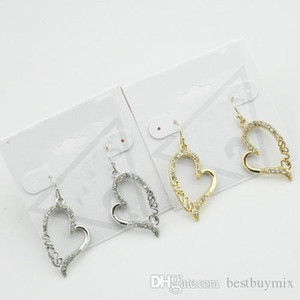Free Shipping,12 prs lot Hot Sale Fashion New Elegant Silver Gold Plated Alloy Crystal Heart with Cut Off Logo Drop Earring