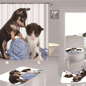 Chat et chien d'impression 3D salle de bains rideau de douche Salle de bain étanche lavable polyesterCurtain Décoration rideau de douche