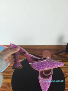 Совершенные Официальные качества Amina Muaddi женщин 95mm Джильда Украшенные блестками Мулы Амина Muaddi Кристалл Высокий каблук Сексуальная обувь Сандалии k11