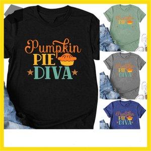 Collo Tee Designer Casual Male Nuovo breve manicotto maglietta Abbigliamento UMPKIN PIE DIVA Womens T-shirt di moda di Halloween Lettera rotonde