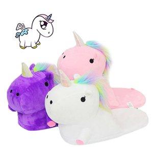 2020 nouvelles pantoufles de coton en peluche chaud hiver Unicorn trois pack poney modélisation dimensionnelle demi pantoufles intérieur