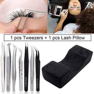 Lash Pillow Ergonomic Memory Support Pillows For Salon Use And 1pcs Vetus Eyelash Extension Tweezer Grafting Eyelash Makeup Tool