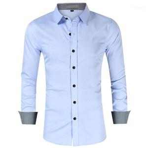 Men Fashion Solid Clothes Mens Plaid Patchwork Dress Shirts Man Spring Lapel Neck Long Sleeve Business Shirt