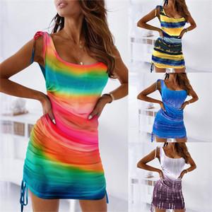 Tie Dye Bandage Robes Femmes Designer Été manches Vêtements décontractés Sexy U Neck Patchwork Femmes Slim Robes Side Drawstring