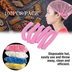 100шт Одноразовый Mesh Cap плиссе Elastic Mesh Нетканые сетка для волос Кепки Косметика Кухня Cooking Hat волос Hat шапочка для душа