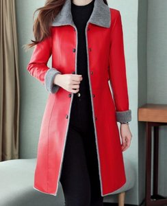 M--5XL Hot 2020 Spring Autumn Women New Fashion Long section plus velvet thickening fur integrated lambskin PU jacket