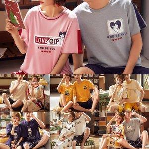 E3mh3 pJQPQ Paar Pyjama Sommer und kurzärmeliges Tuch Herbst Herren-Sommerbaumwollfrauen dünn home Home Kleidung shortsShorts und Shorts s