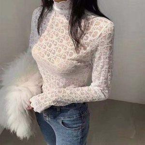 chemise dentelle Primer femme nouvelle dentelle de style esprit étranger prend dans la moitié de la gaze nette col haut tempérament de fées manches longues 2020 nouvelle