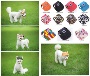 Dog Hat With Ear Holes Summer Canvas Baseball Cap For Small Pet Dog Outdoor Accessories Hiking Pet Products 11 Styles Free Shipping
